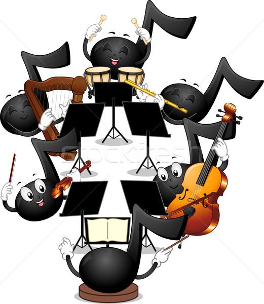 талисман отмечает иллюстрация музыки отмечает играет оркестра Сток-фото © lenm