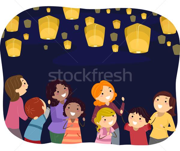 Anyukák gyerekek lebeg lámpások illusztráció szülők Stock fotó © lenm