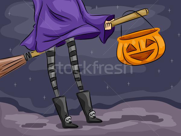 Sfondo di halloween illustrazione strega manico di scopa design sfondo Foto d'archivio © lenm