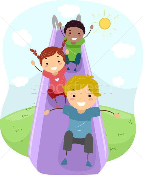 Slide illustration enfants jouant enfants enfant amis Photo stock © lenm