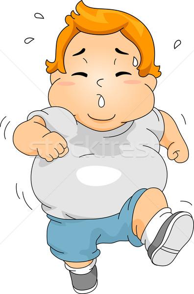 избыточный вес мальчика бег иллюстрация фитнес здоровья Сток-фото © lenm