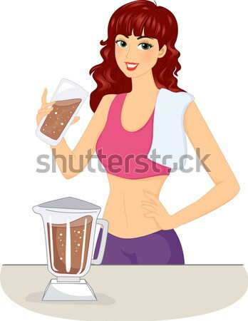 Bier Mädchen Illustration Frau halten Riese Stock foto © lenm