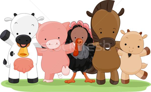 сельскохозяйственных животных Cartoon иллюстрация различный дизайна корова Сток-фото © lenm
