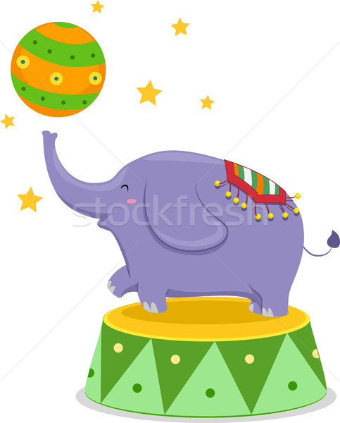 Circus Elephant Balancing a Circus Ball Stock photo © lenm