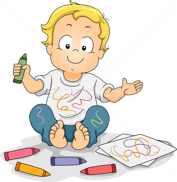 Criança menino desenho giz de cera ilustração Foto stock © lenm