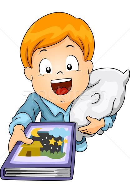 Esti mese illusztráció kicsi fiú olvas éjszaka Stock fotó © lenm