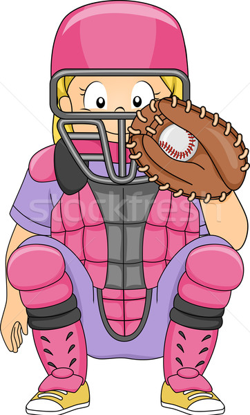 Baseball Catcher Girl Position Stock photo © lenm