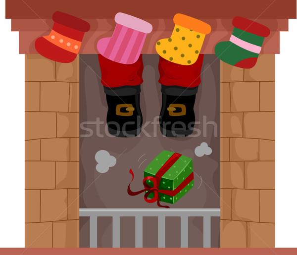 Noel çorap örnek teslim şömine hediyeler Stok fotoğraf © lenm