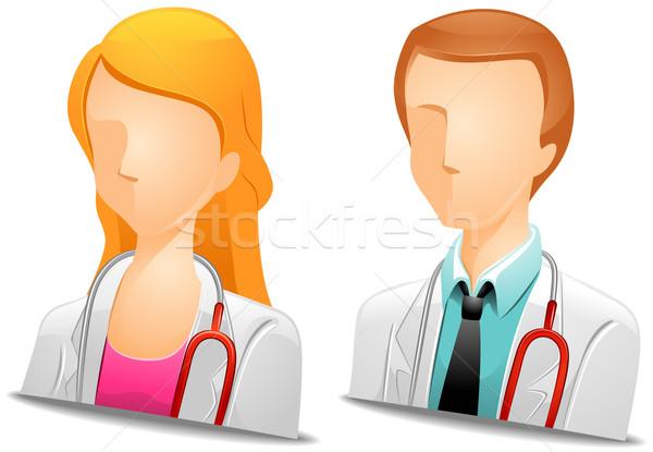 Médico mulher médico estetoscópio ícone Foto stock © lenm