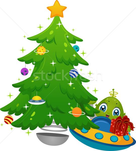 Alienígena árvore de natal dom ilustração nave espacial presentes Foto stock © lenm