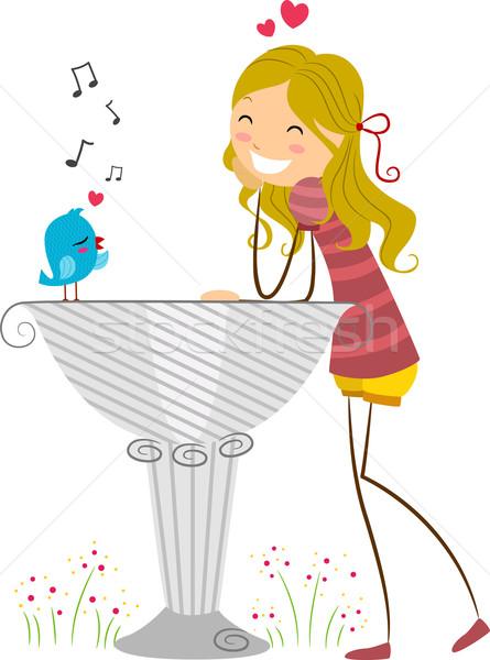 певчая птица иллюстрация любви птица женщины животного Сток-фото © lenm