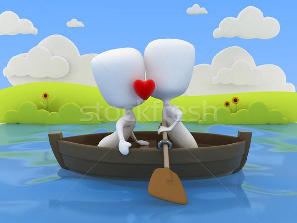 Coppie data illustrazione 3d Coppia bacio barca Foto d'archivio © lenm