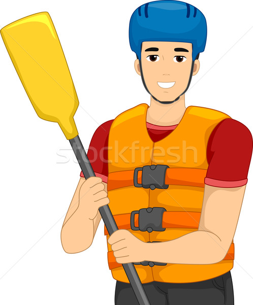 Man White Water Rafting Life Vest Stock photo © lenm