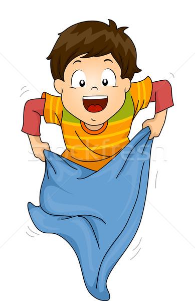 Gyerek zsák verseny illusztráció kicsi fiú Stock fotó © lenm