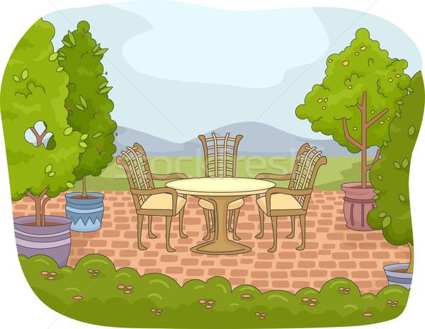 Bahçe veranda örnek doğa manzara Stok fotoğraf © lenm