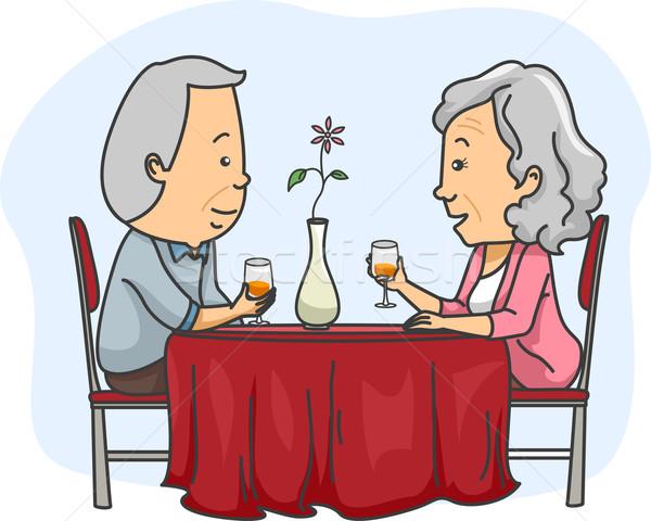 Idős pár randevú illusztráció idős pár ki Stock fotó © lenm
