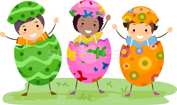Ragazzi Pasqua costume illustrazione indossare costumi Foto d'archivio © lenm