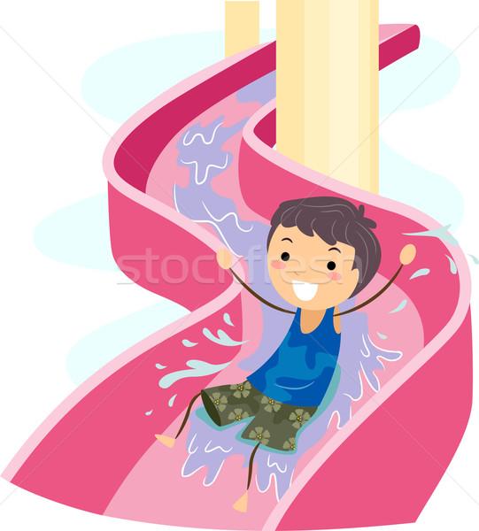 слайдов Kid иллюстрация Водная горка мальчика плаванию Сток-фото © lenm