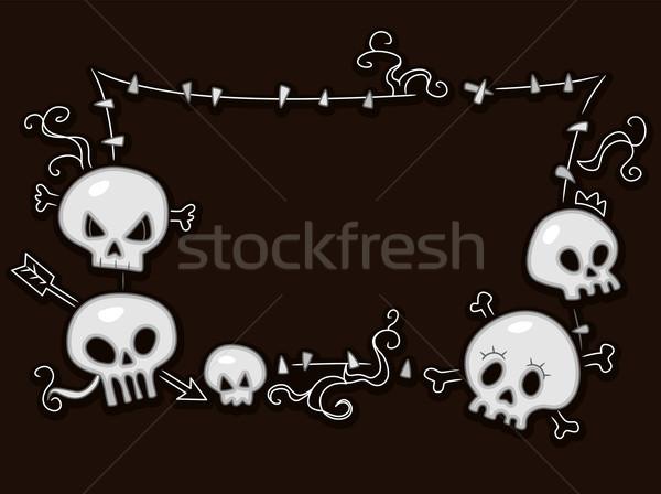 Czaszki ramki ilustracja tle ciemne wakacje Zdjęcia stock © lenm