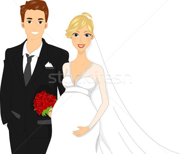 Pregnant Bride Stock photo © lenm
