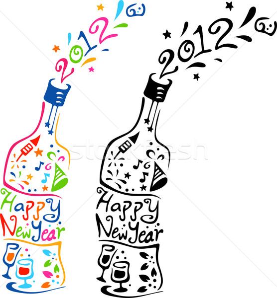 Zdjęcia stock: Nowy · rok · butelki · ilustracja · butelek · odznaczony · elementy