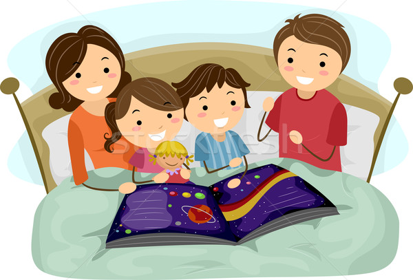 Esti mese illusztráció gyerekek hallgat nő család Stock fotó © lenm