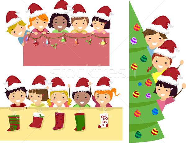 Stickman Kids Christmas Banner Stock photo © lenm