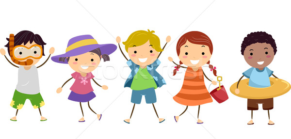 Stickman Kids in Summer Outfit  Stock photo © lenm