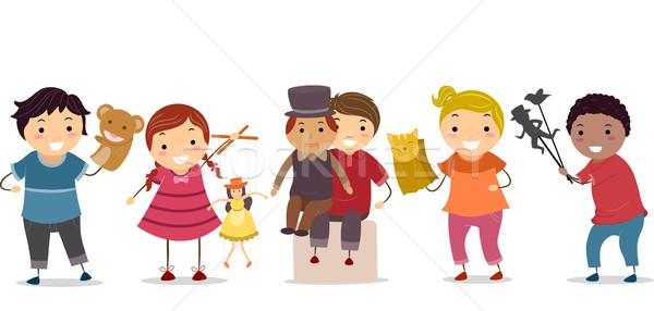 марионеточного дети иллюстрация детей, играющих ребенка Kid Сток-фото © lenm