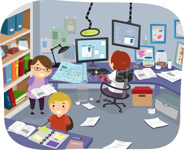 Kísérlet szoba illusztráció kicsi gyerekek kutatás Stock fotó © lenm