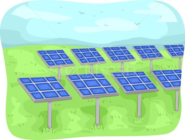 Zonnepanelen illustratie Open veld elektriciteit vector Stockfoto © lenm