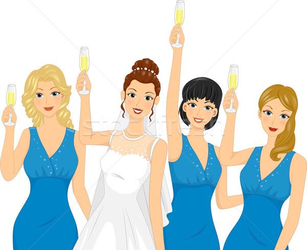 Dama de honor brindis ilustración mujer vino novia Foto stock © lenm