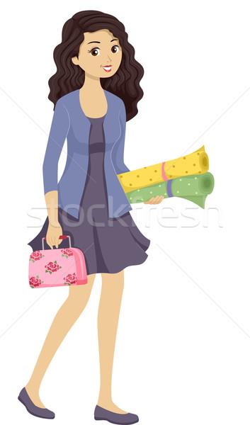 Sewing Kit Girl Stock photo © lenm