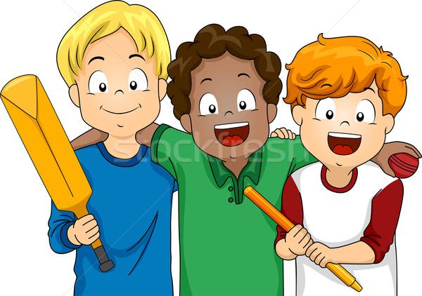 クリケット 男の子 実例 グループ 準備 再生 ストックフォト © lenm