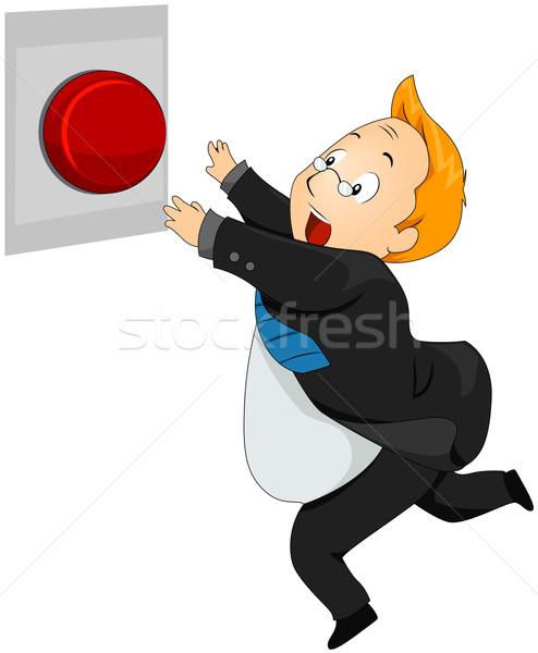 パニック ボタン 男 を実行して 作業 ストックフォト © lenm