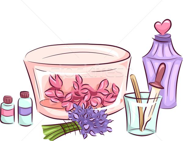 духи Ингредиенты иллюстрация различный используемый Сток-фото © lenm