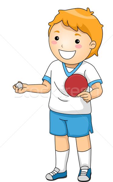 настольный теннис иллюстрация молодые игрок мальчика цифровой Сток-фото © lenm