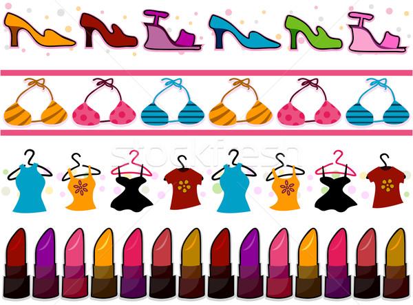 Moda cuatro frontera diseños zapatos Foto stock © lenm