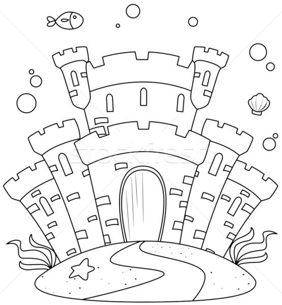 Stock photo: Line Art Undersea Castle
