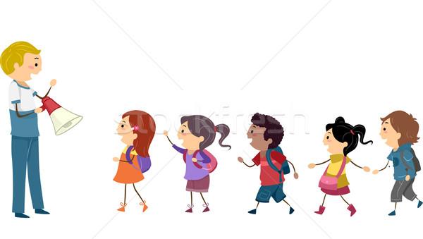 Gyerekek diák fúró illusztráció utasítások tanár Stock fotó © lenm