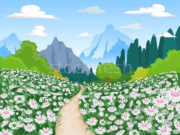 Flower Field Mountain Scene Stock photo © lenm