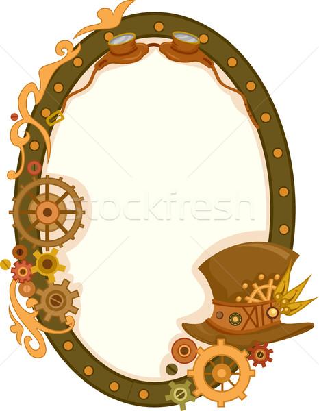 Steampunk körkörös keret illusztráció díszített fogaskerekek Stock fotó © lenm