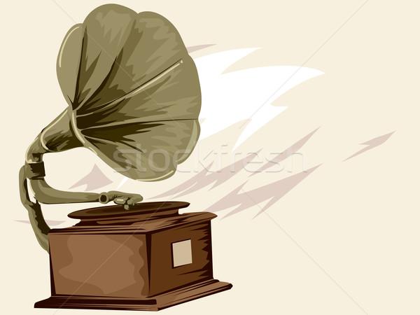 Gramofone vintage ilustração música projeto gráfico Foto stock © lenm