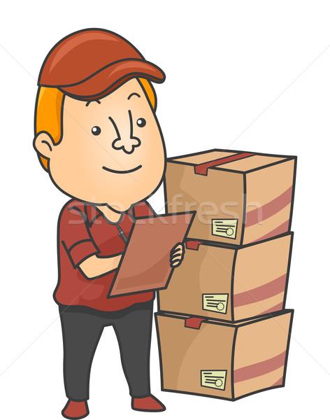 Homme logistique fret illustration inventaire suivre Photo stock © lenm