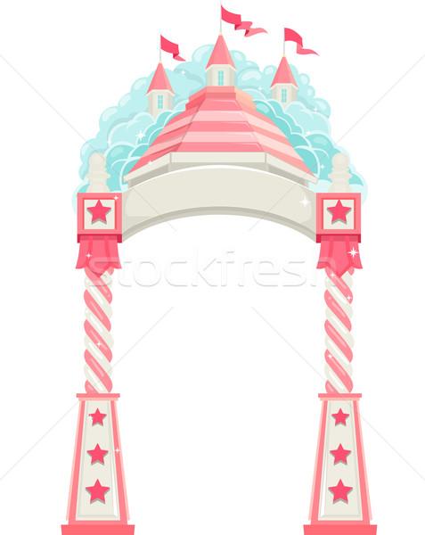 üdvözlet ív kastély illusztráció művészet fantázia Stock fotó © lenm