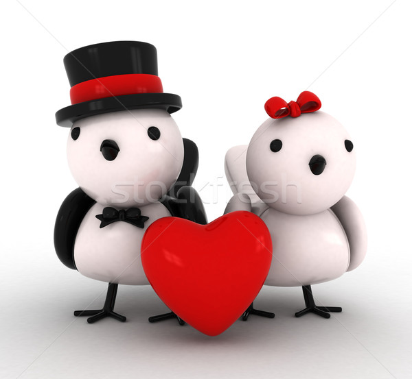 Photo stock: Amour · oiseaux · 3d · illustration · blanc · noir · coeur · couple