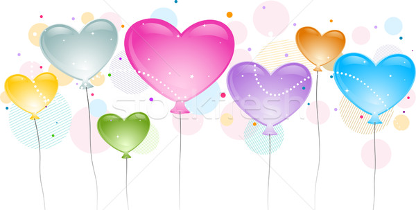 Ballons illustration différent couleurs amour cartoon Photo stock © lenm
