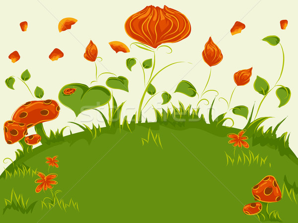 Stock fotó: Absztrakt · növények · hóbortos · illusztráció · színes · virágok