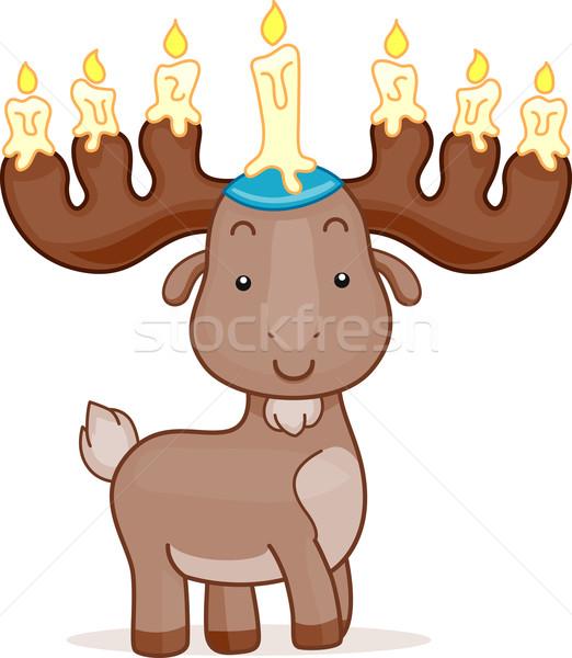 Veado páscoa ilustração velas animal celebração Foto stock © lenm