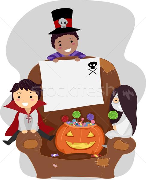 Halloween kinderen illustratie kostuums kind jongen Stockfoto © lenm